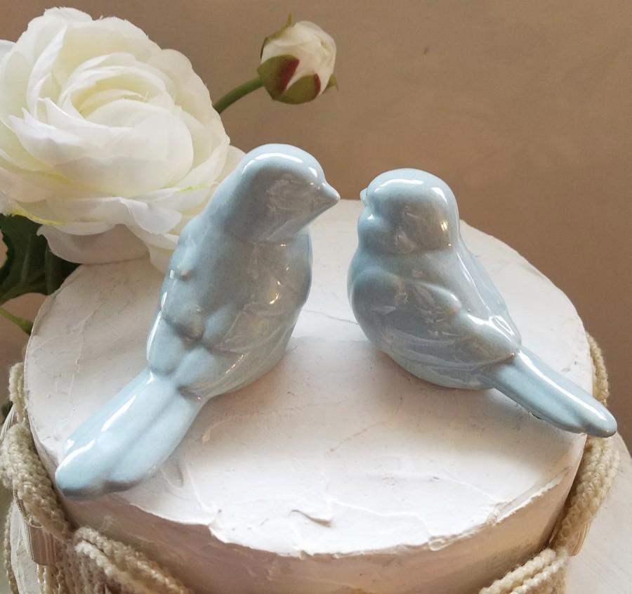 Свадьба - Wedding Cake Topper Dusty Blue Love Birds Elegant Ceramic Birds Blue Home Decor Wedding Favors Blue Love Birds