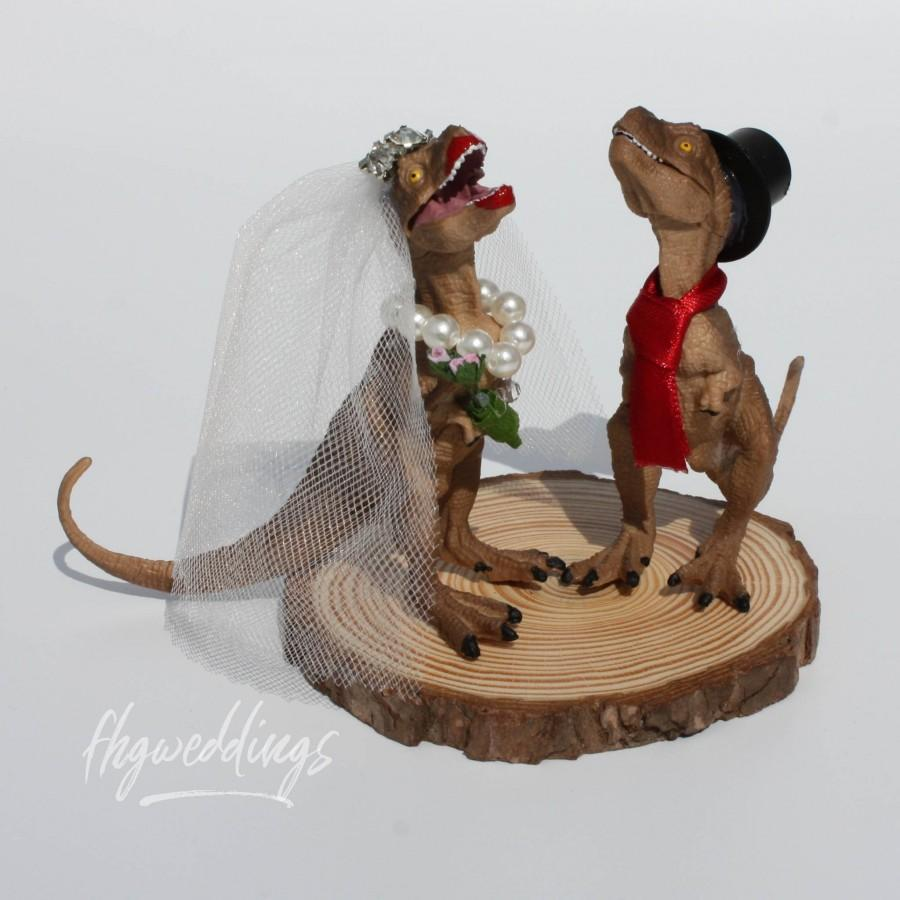 Wedding - Mini TRex Wedding Cake Topper - Brown/ Alternative Wedding/Dinosaur Wedding Cake Topper/Wedding Centrepiece/Bride and Groom Cake Topper/Geek