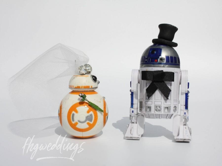 Wedding - Star Wars R2D2 BB8 Wedding Cake Toppers/SciFi Wedding/Geek/Nerd/Alternative Wedding/Droid/Robot/Centrepiece/Geek Wedding Gift