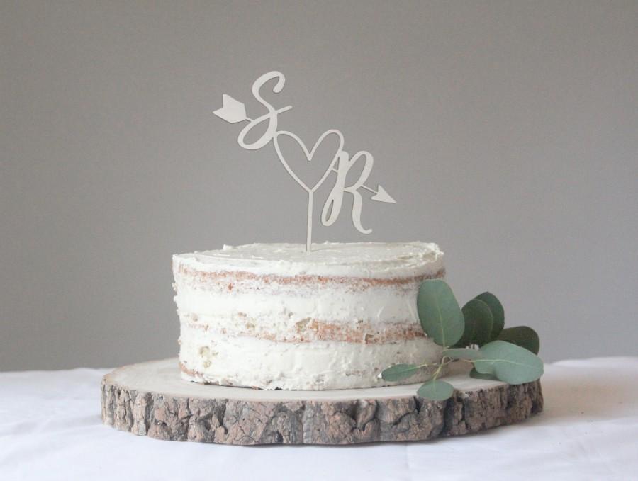 Wedding - Arrow And Heart Wedding Cake Topper, Personalised Arrow Cake Topper, Custom Heart Wedding Topper, Love Heart Wedding Topper, Wooden Topper