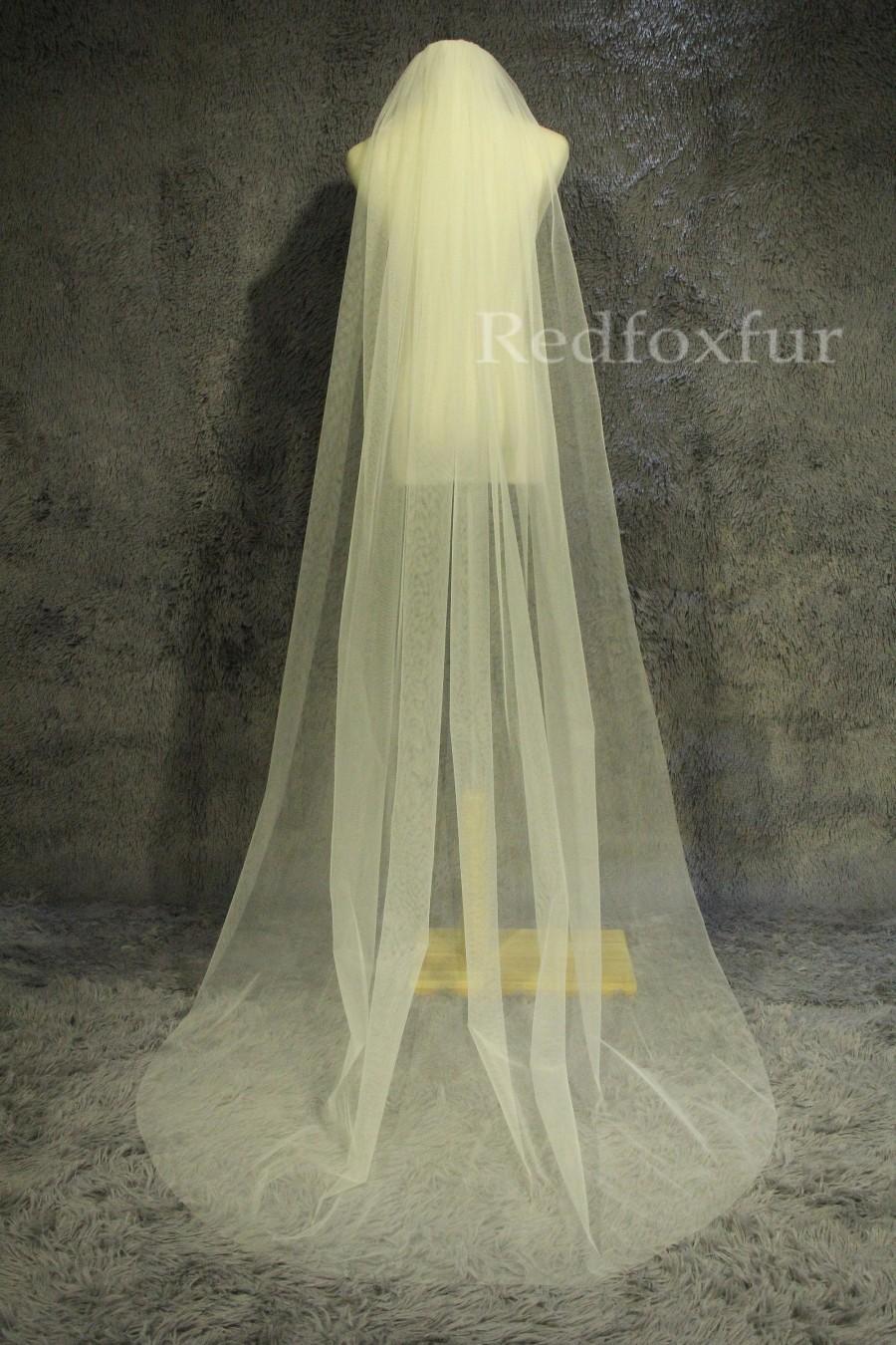 زفاف - Custom veil,Minimalist design veil,Soft tulle veil,1Tier cathedral veil,cut edge veil,chapel veil,Wedding Bridal veil,Accessories