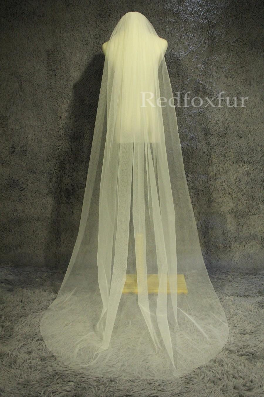 Hochzeit - Custom veil,Minimalist design veil,Soft tulle veil,1Tier cathedral veil,cut edge veil,chapel veil,Wedding Bridal veil,Accessories