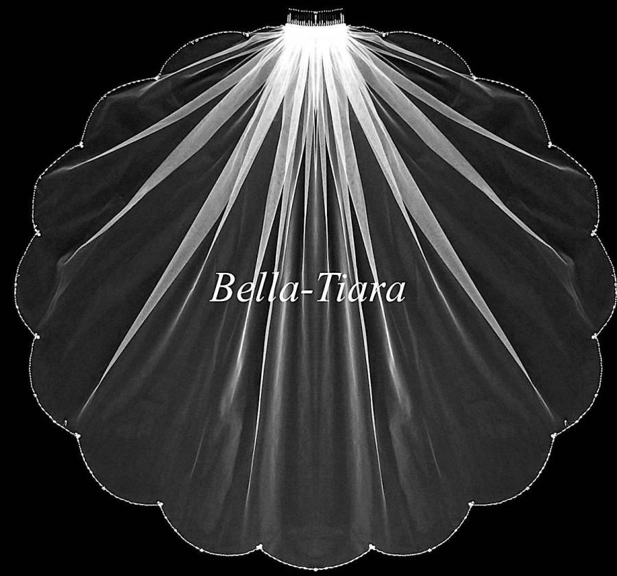 Wedding - cathedral beaded bridal veil, beaded cathedral veil, chapel length veil, crystal cathedral veil, cathedral veil with blusher