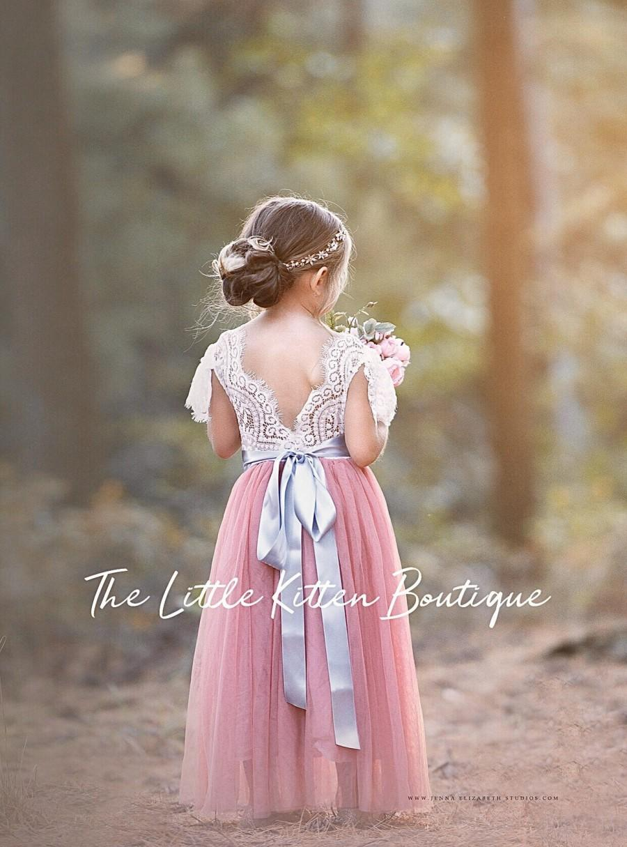 Mariage - Flower girl dress, dusty rose flower girl dress, lace flower girl dresses, white flower girl, tulle flower girl, Special occasion dress