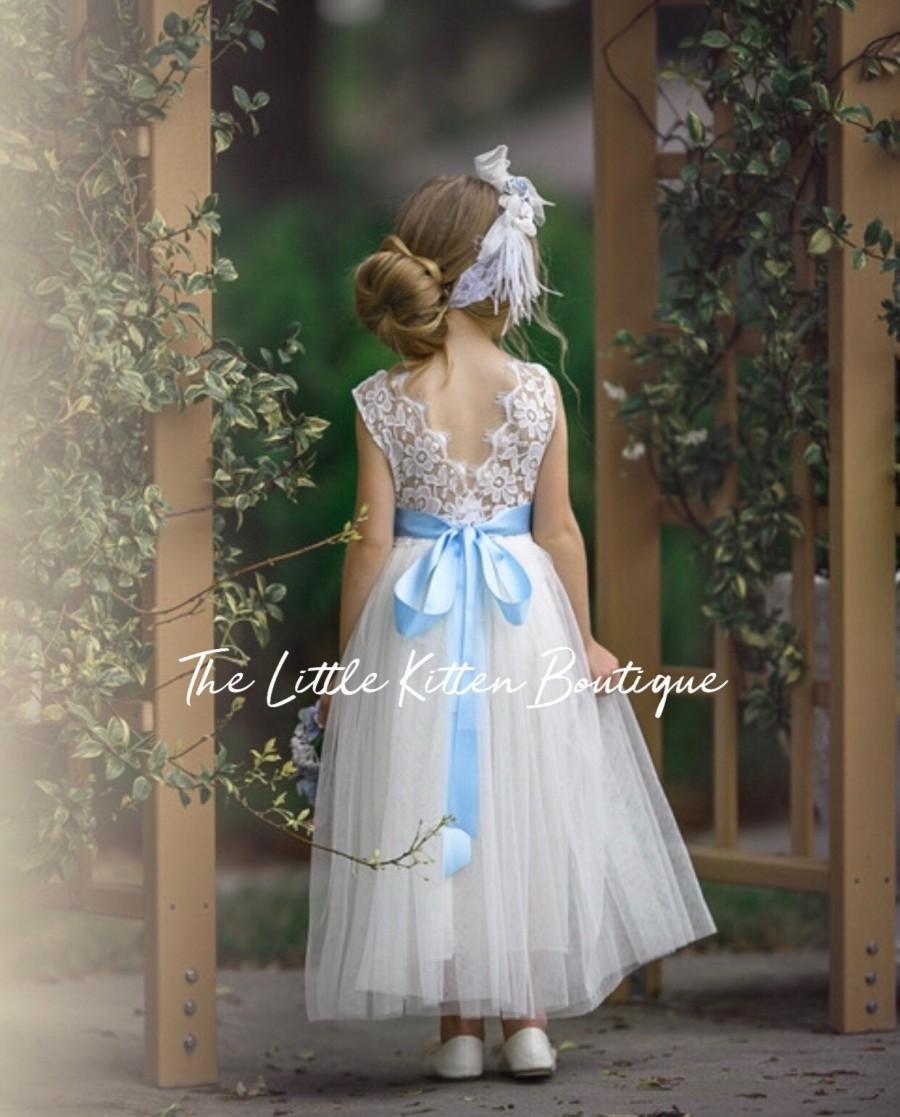 Wedding - boho flower girl dress, Tulle Flower Girl dress,  lace flower girl dress, Ivory flower girl dress, white communion dress, baptism dress