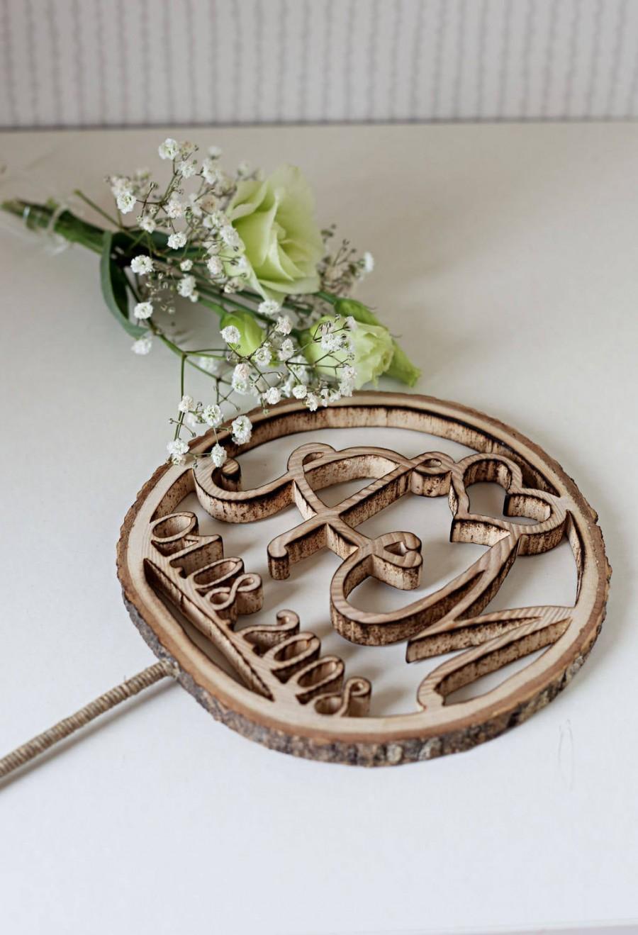 Свадьба - Wedding cake topper, Rustic cake decor,  Personalized Cake Topper,  Wood slice cake topper, Initials cake topper, Rustic cake topper, Boho