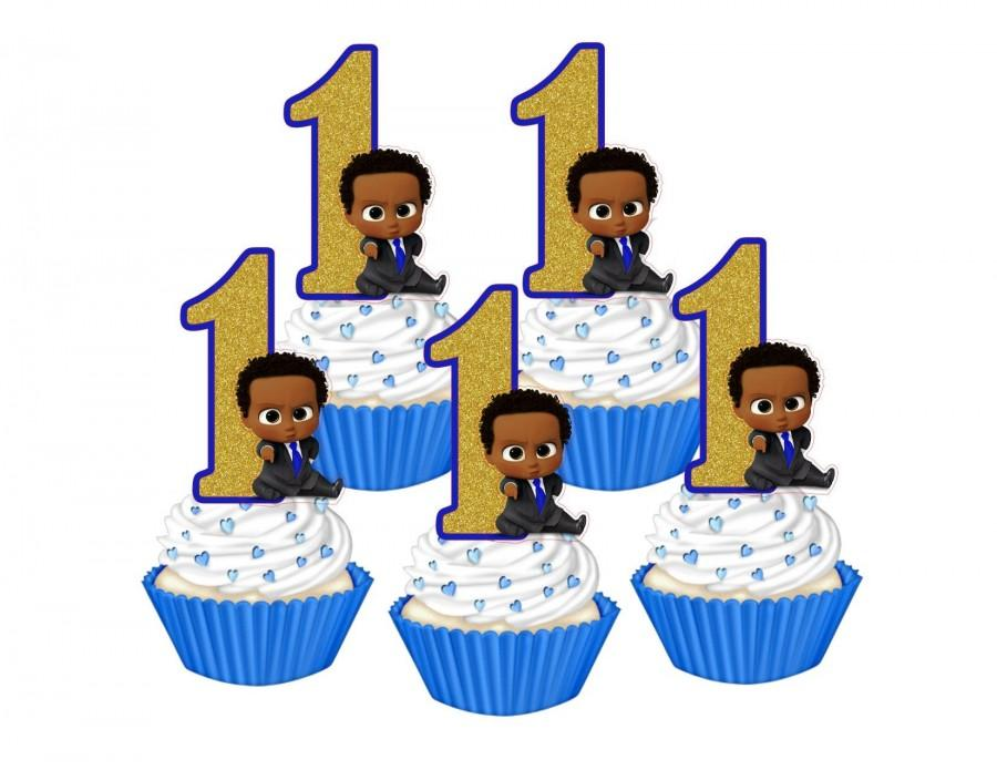 Hochzeit - 1st Birthday Dark skinned Boss Baby cupcake toppers, African Boss Baby cakepop toppers, Dark skinned Boss Baby cupcake decors