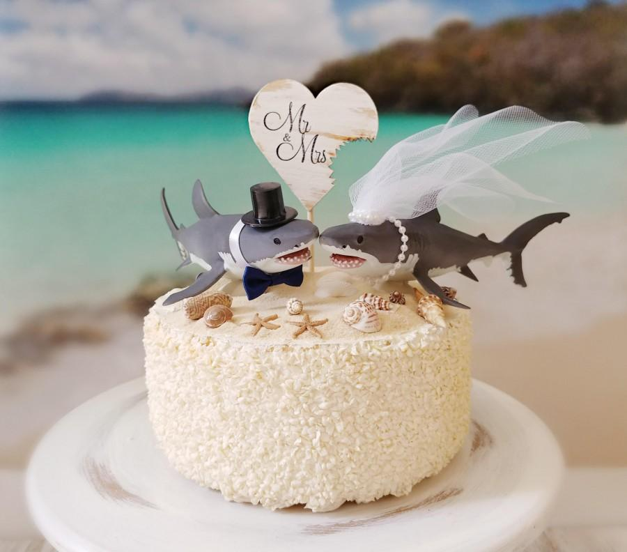 Hochzeit - shark wedding cake topper great white lover bride and groom San Jose sharks mascot beach nautical themed cake topper destination tropical