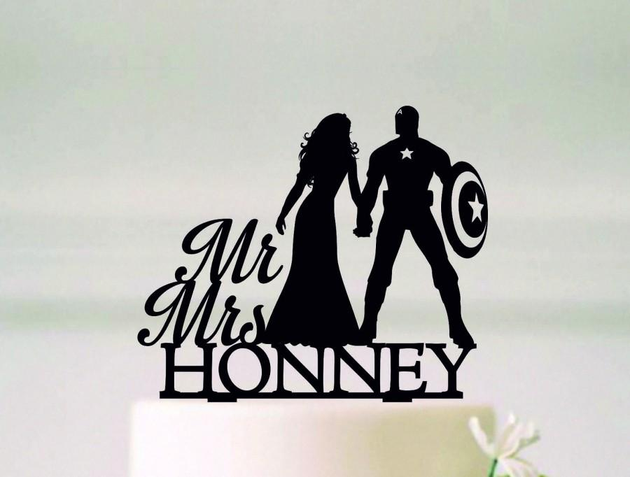 Wedding - Captain America Cake Topper, Superhero Wedding Cake Topper, Superhero Silhouette, Mr and Mrs Topper, Cake Topper With Last Name#67