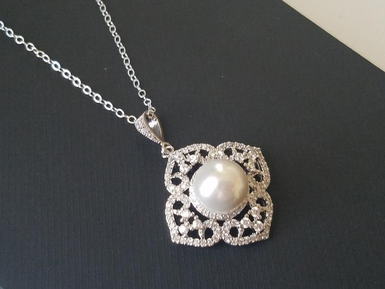 Mariage - Pearl Bridal Necklace, White Pearl Wedding Pendant, Bridal Wedding Jewelry, Pearl Silver Necklace, Filigree Pearl Necklace, Prom Necklace