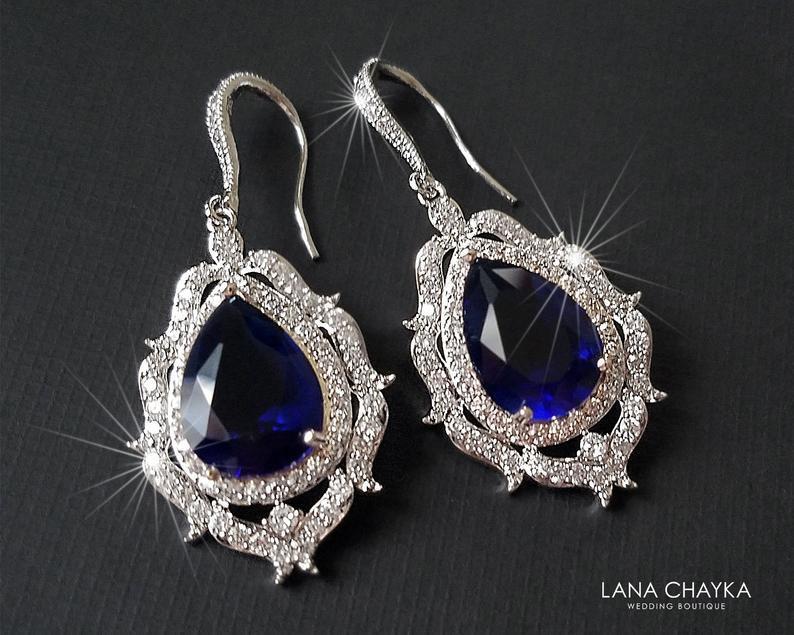 Wedding - Navy Blue Large Crystal Bridal Earrings, Wedding Sapphire Teardrop Earrings, Bridal Jewelry, Blue Chandelier Earrings, Statement Earrings