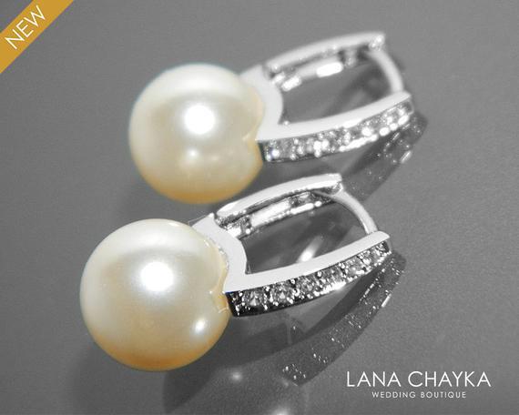 Wedding - Bridal Pearl Earrings Pearl CZ Leverback Wedding Earrings Swarovski 10mm Ivory Pearl Silver Earrings Bridal Pearl Earring Bridesmaid Jewelry
