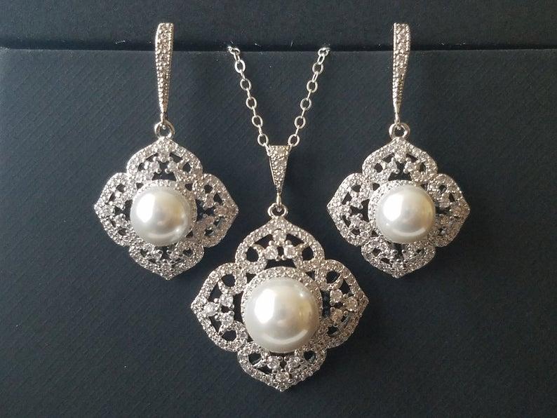 Wedding - Pearl Bridal Jewelry Set, White Pearl Silver Wedding Set, Filigree Pearl Jewelry Set, Pearl Earrings&Necklace Set, Bridal Pearl Jewelry