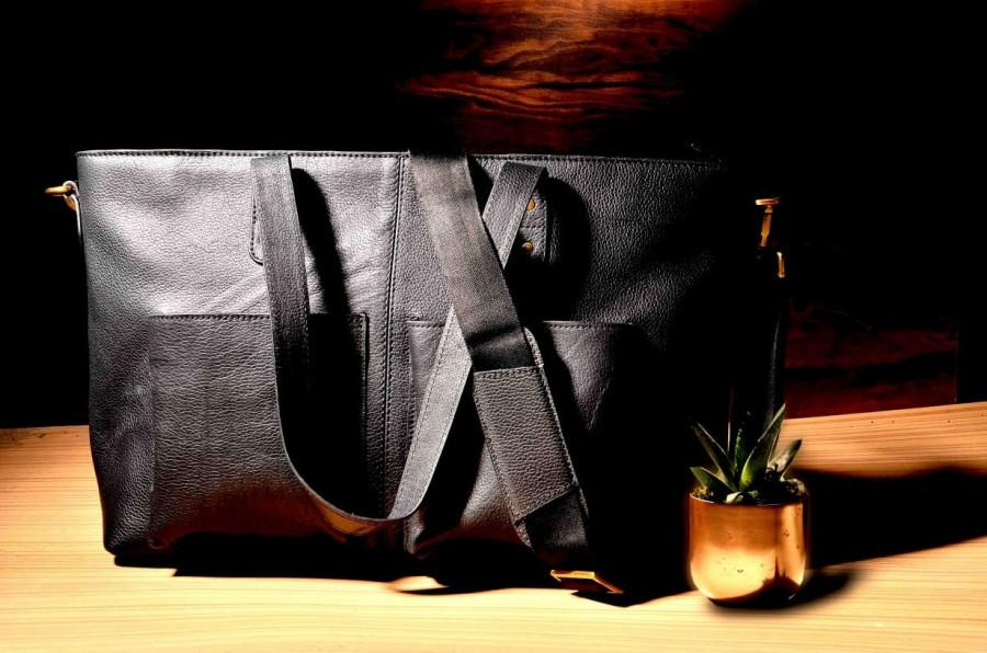 Wedding - LEGACY - Black Leather Laptop Tote With Crossbody Strap (GIZA)