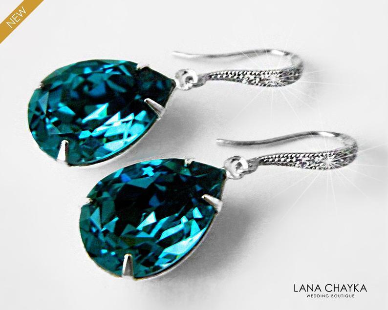 Wedding - Indicolite Teal Crystal Earrings Wedding Dark Teal Rhinestone Earrings Swarovski Indicolite Teardrop Silver Dangle Earrings Bridal Jewelry