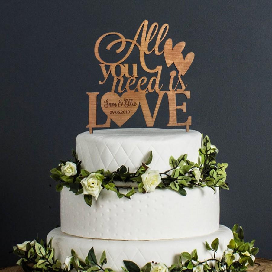 زفاف - Wedding Cake Topper Personalised Heart Design - All You Need is Love Mr & Mrs Keepsake Table Decoration Personalized Wedding Favor