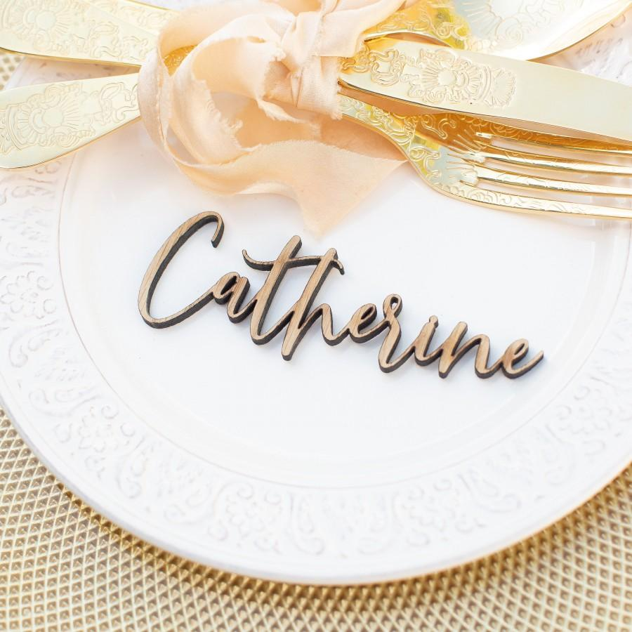 Wedding - Wedding Place Cards, Wooden Place Names, Laser Cut Names, Wood Wedding Favors, Personalised Rustic Elegant Table Names Settings Gold Silver