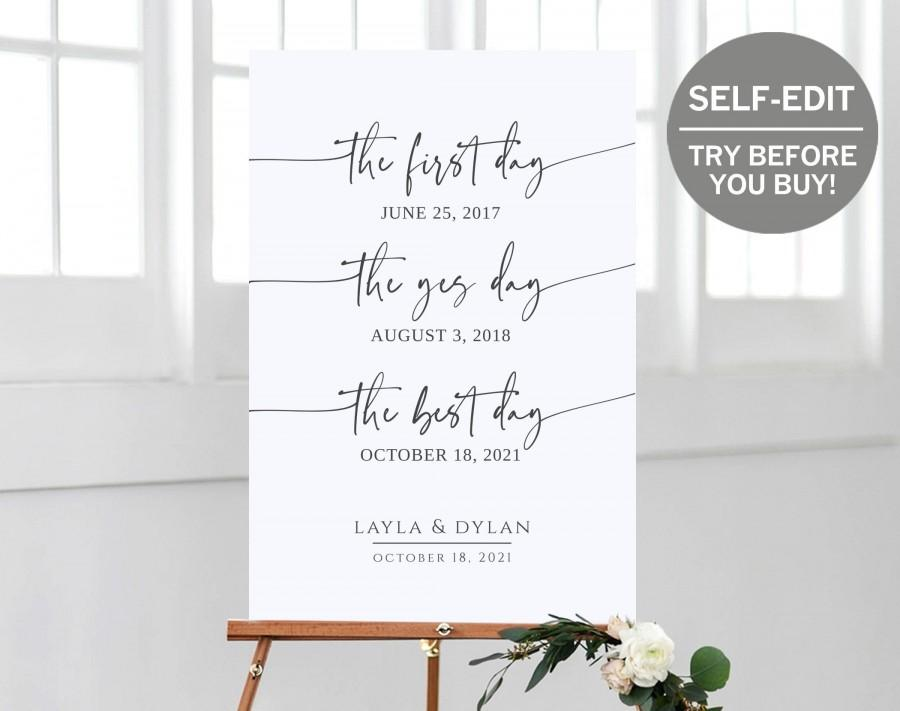 Wedding - Our Love Story Wedding Sign, TRY BEFORE You BUY, Important Dates Sign,  100% Editable, Our Story Sign, Rehearsal Dinner Sign, Printable