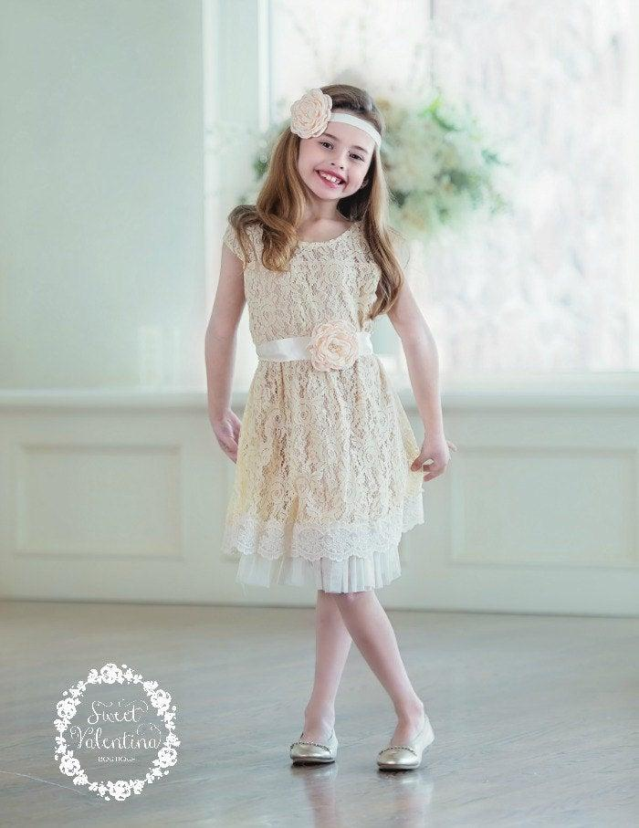 Wedding - flower girl dress, flower girl dresses, lace baby dress, rustic girl dress, lace flower girl dress, country flower girl, champagne dress 2