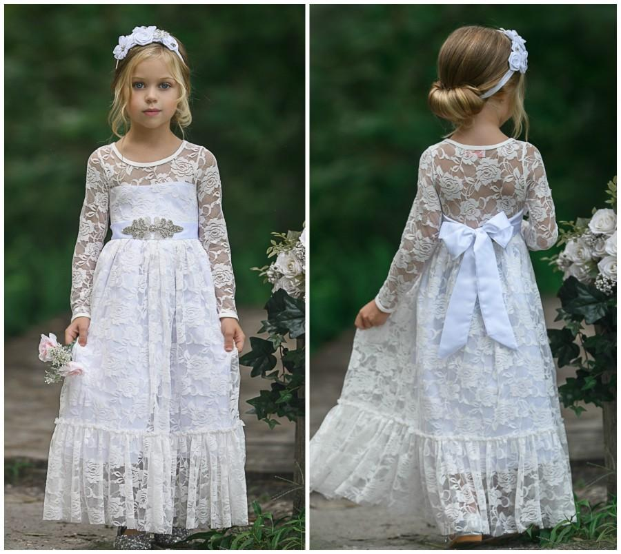 Mariage - White Flower Girl Dress, Lace Flower Girl Dress, Boho Flower Girl Dresses, Long sleeve lace dress, Rustic flower girl dress, Communion Dress