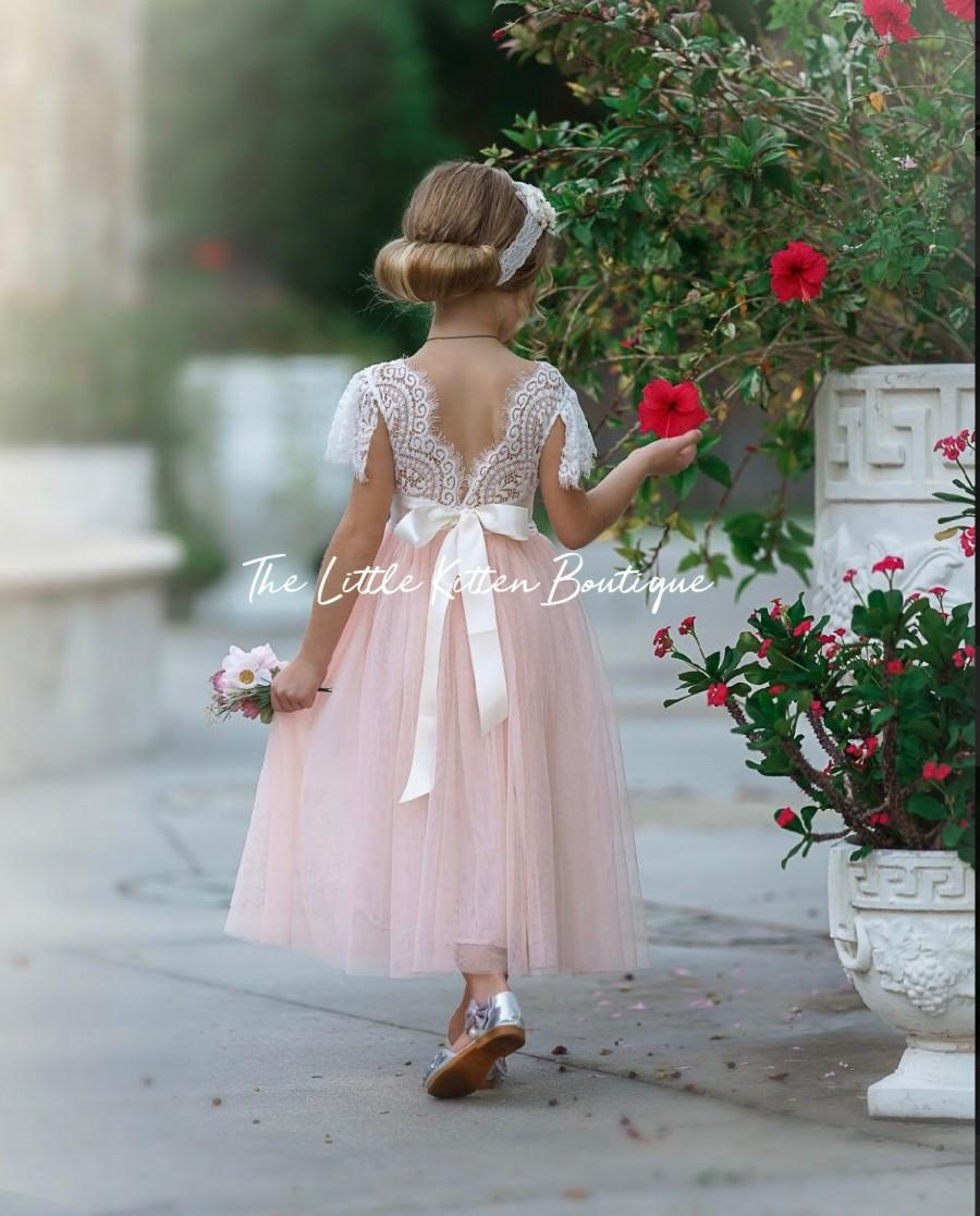 Wedding - Ivory Flower girl dresses, Tulle flower girl dress, long sleeve flower girl dress, rustic lace flower girl dress, Boho flower girl dress