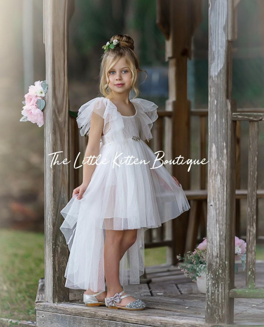 Mariage - tulle flower girl dress, rustic lace flower girl dresses, blush flower girl dresses, boho flower girl dress, ivory flower girl dress, tiara