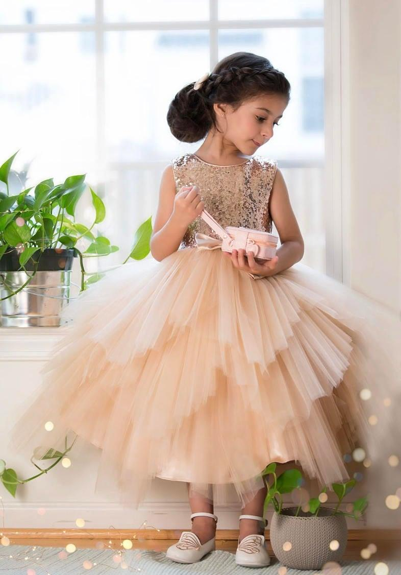 Wedding - Flower Girl Dress sequin Glam Blush, Rose Gold/ Champagne  and Ivory Gold Sequin Top Dress rose gold sequin top dress big bow jr bridesmaid