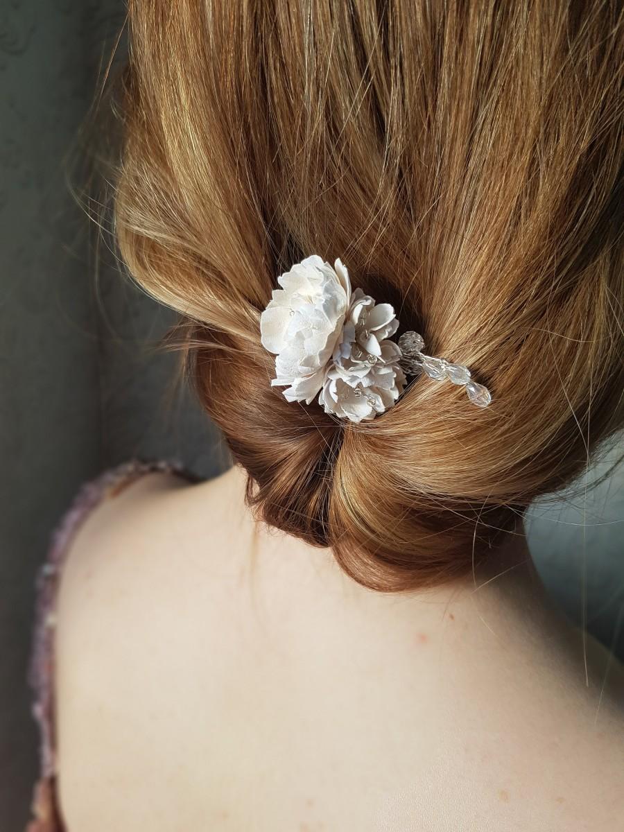 زفاف - Boho headpiece, Flower hair comb for bride, Bridal hair pins