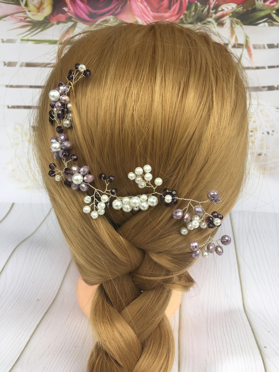 Wedding - Bridal Hair Comb Purple hair jewerly Amethyst Hairpiece Violet Hair Clip Purple Hair Comb Lavender Headpiece Lilac Bridesmaid hair clip