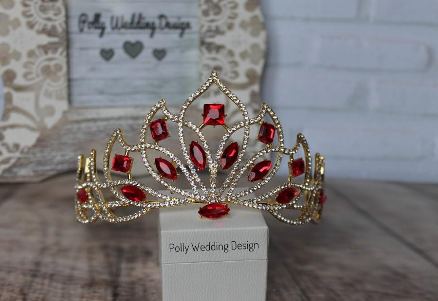 Hochzeit - Ruby Tiara,Red Crown ,Gold Tiara,Bridal Tiara,Crown,Rhinestone Tiara,Wedding Tiara,Diamante Crown