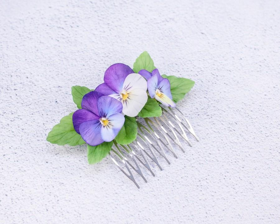 Wedding - Purple pansy hair Comb Floral hair comb bridal flower comb Bridal hair floral jewelry