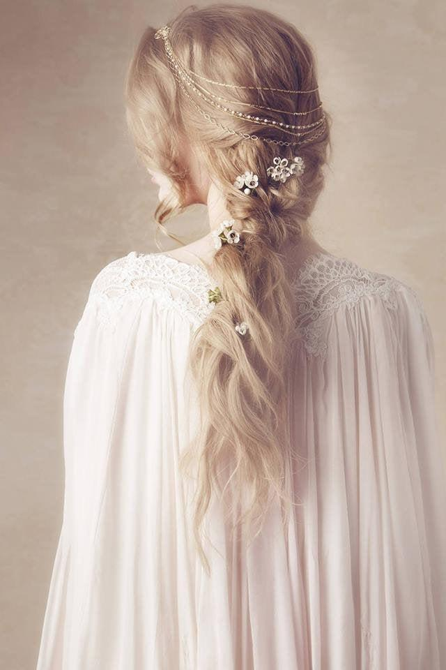 Wedding - Hair Garland, Hair Wreath, Halo, Golden Headband, Hair Accessory, Hair Clip, Hair Chains, Hair barrettes, Hair Piece, Hair Jewelry, Gold