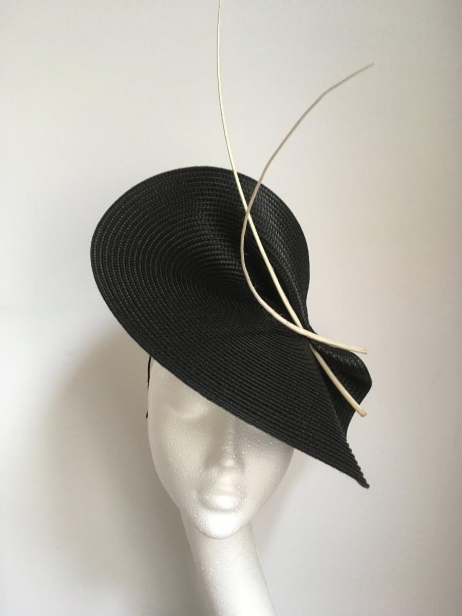 Свадьба - Black white Fascinator hat, black white fascinator hat Wedding Ascot Derby Races, black white Kentucky Derby fascinator hat, black hat