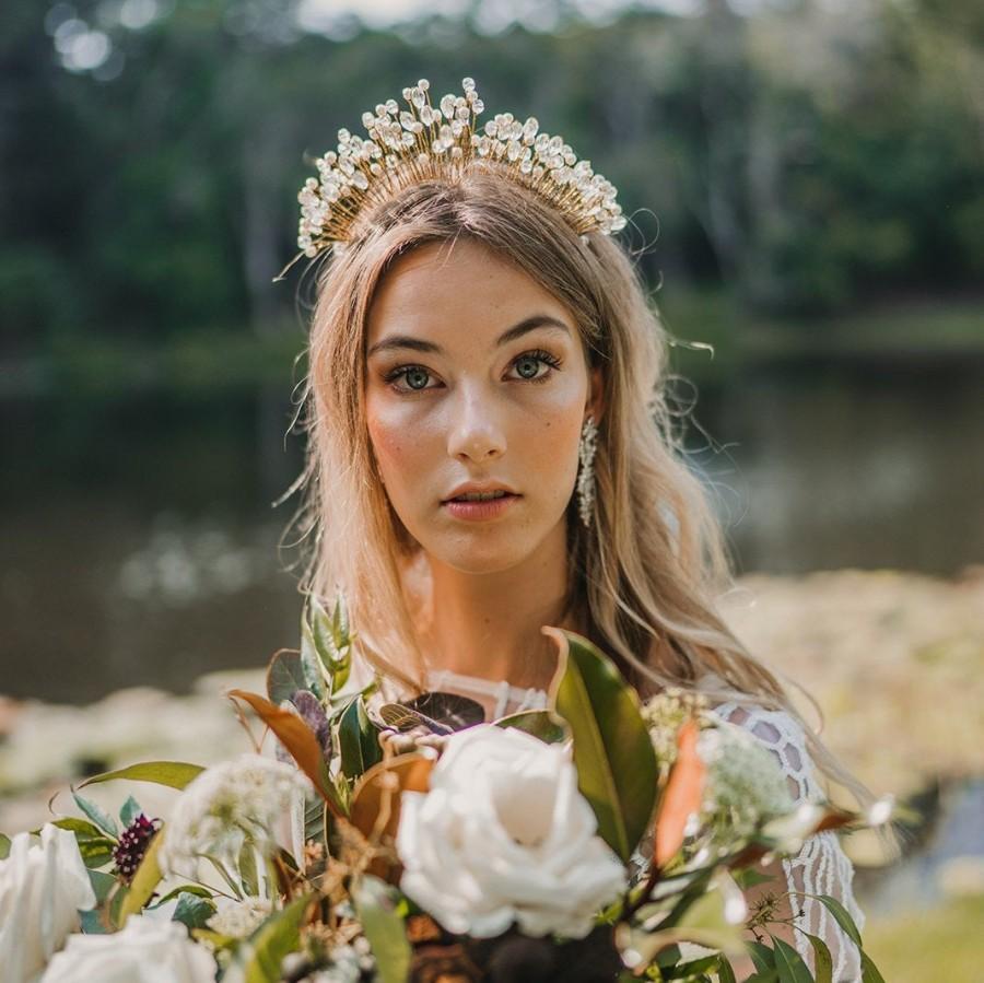 Свадьба - Gold Pearl Crystal Bridal Crown Headband Tiara- Boho Crown-  Bohemian Bridesmaid crown