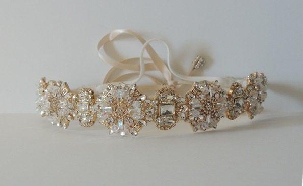 Mariage - Ada Gold Wedding bridal headpiece crystal headband headpiece satin ribbon vintage inspired art deco style