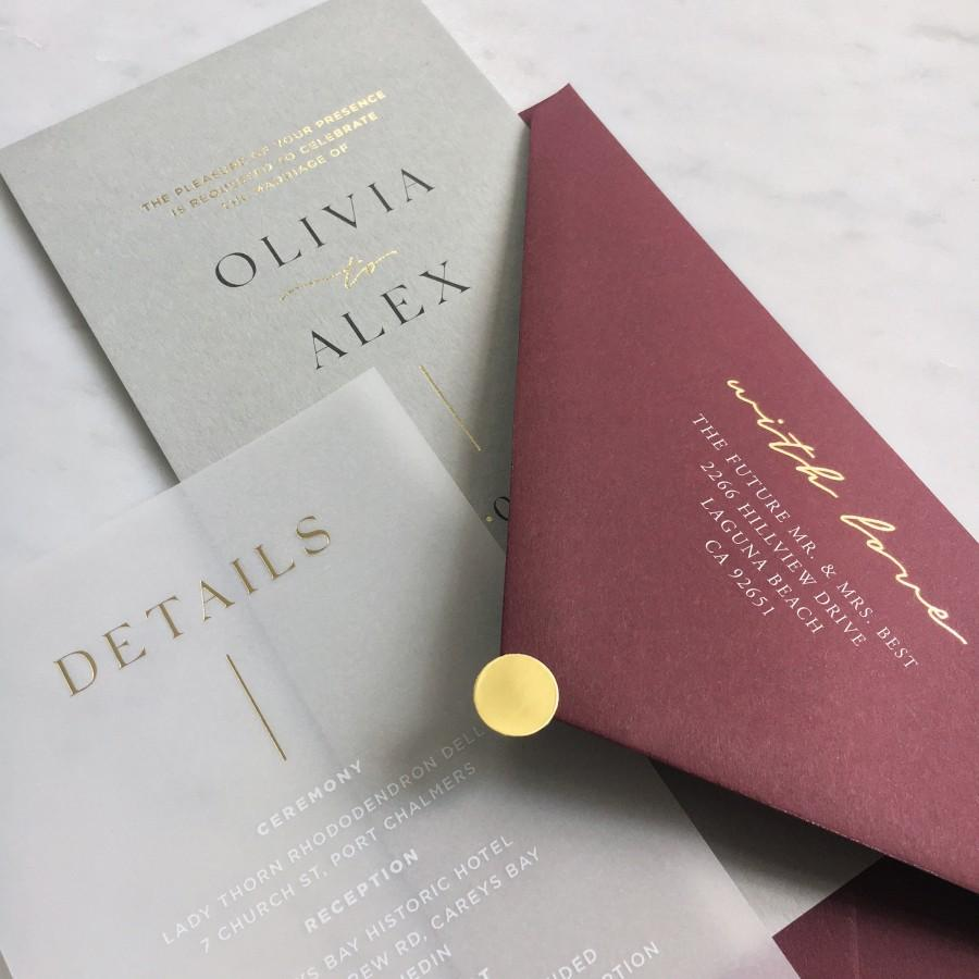 Свадьба - Gold Foiled Translucent Vellum + Card Wedding Invitation with Premium Envelope & Gold Sticker - SEE DETAILS BELOW...