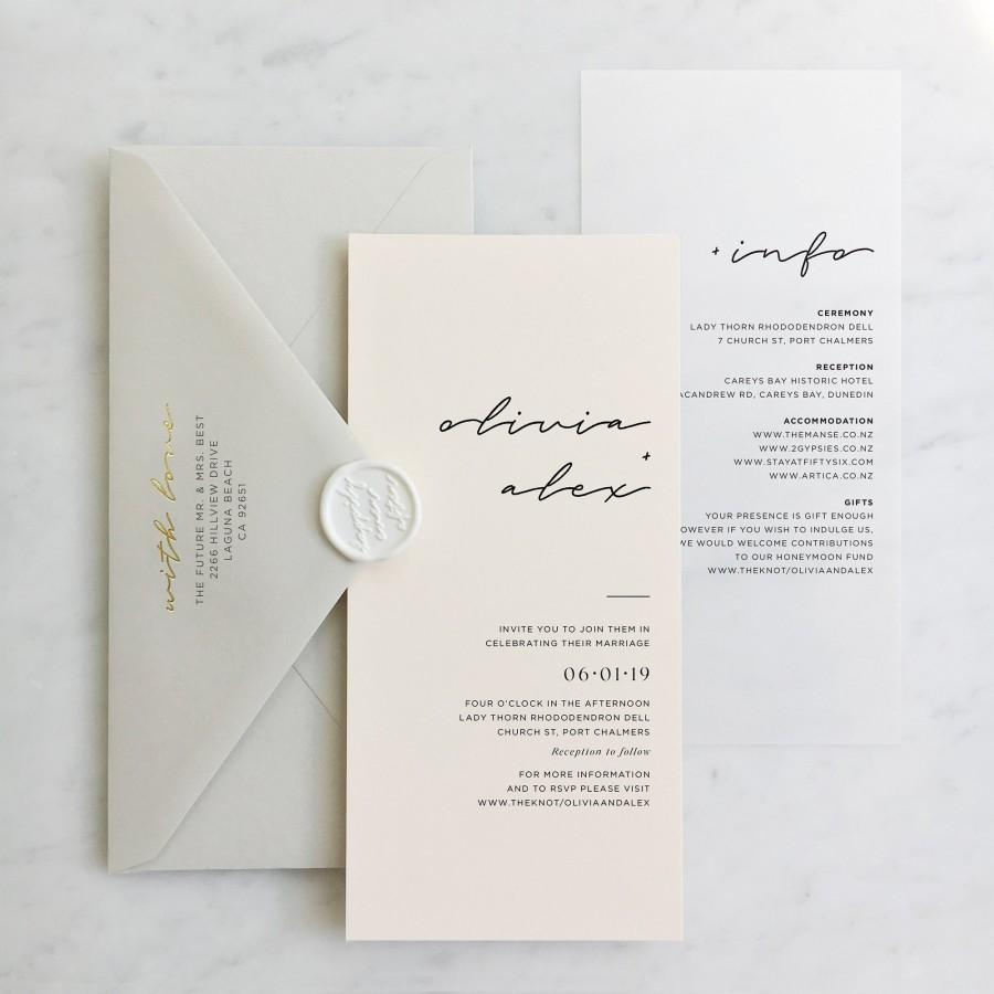 Hochzeit - Translucent Vellum + Card Wedding Invitation with Choice of Envelope & Optional Wax Seal - SEE DETAILS BELOW...