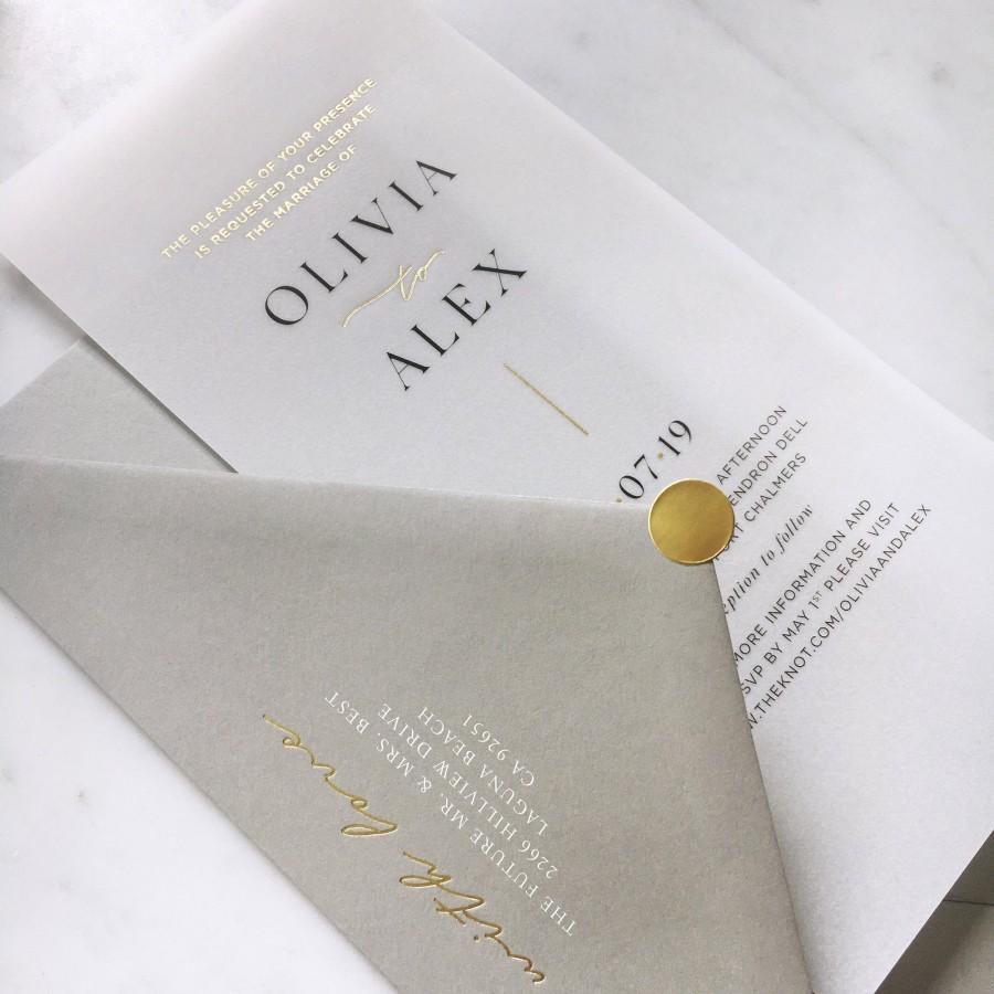 Wedding - Gold Foiled Translucent Vellum Wedding Invitation with Premium Envelope & Gold Sticker - SEE DETAILS BELOW...