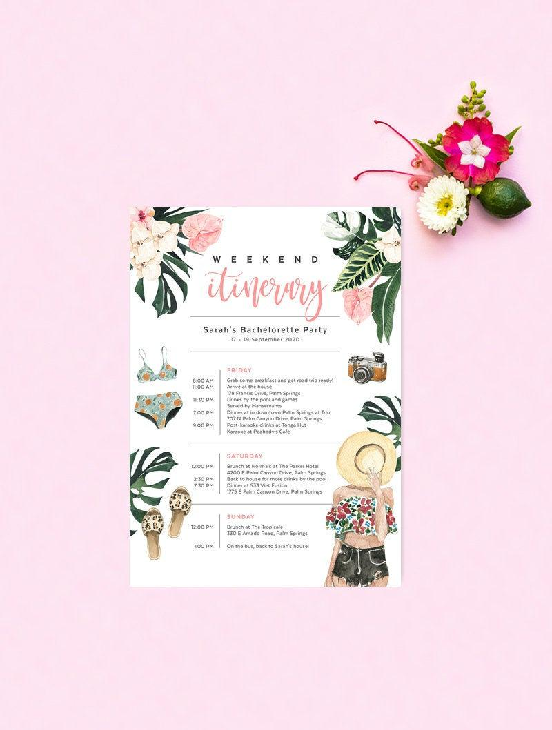 Wedding - Beach Bachelorette Itinerary Template, Hens Weekend, Birthday, Wedding, Tropical Palm Leaf, Florida, Editable, Instant Download TROP09