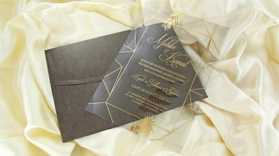 Wedding - Custom Acrylic Wedding Invitation, Gold Mirror Invitation, Modern Acrylic Invitation, Transparent Invitation, Clear Acrylic Invites