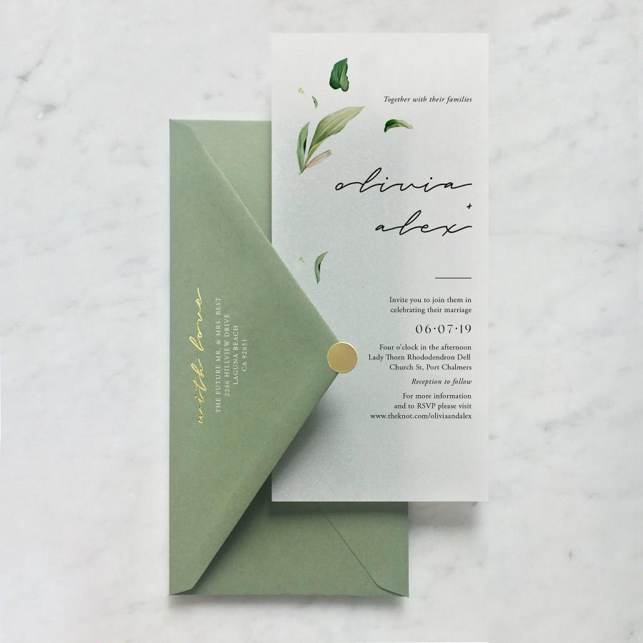 Wedding - Translucent Vellum Botanical Wedding Invitation with Choice of Envelope & Embossed Sticker - SEE DETAILS BELOW...