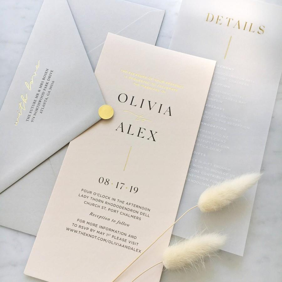 زفاف - Gold Foiled Translucent Vellum + Card Wedding Invitation with Premium Envelope - SEE DETAILS BELOW...