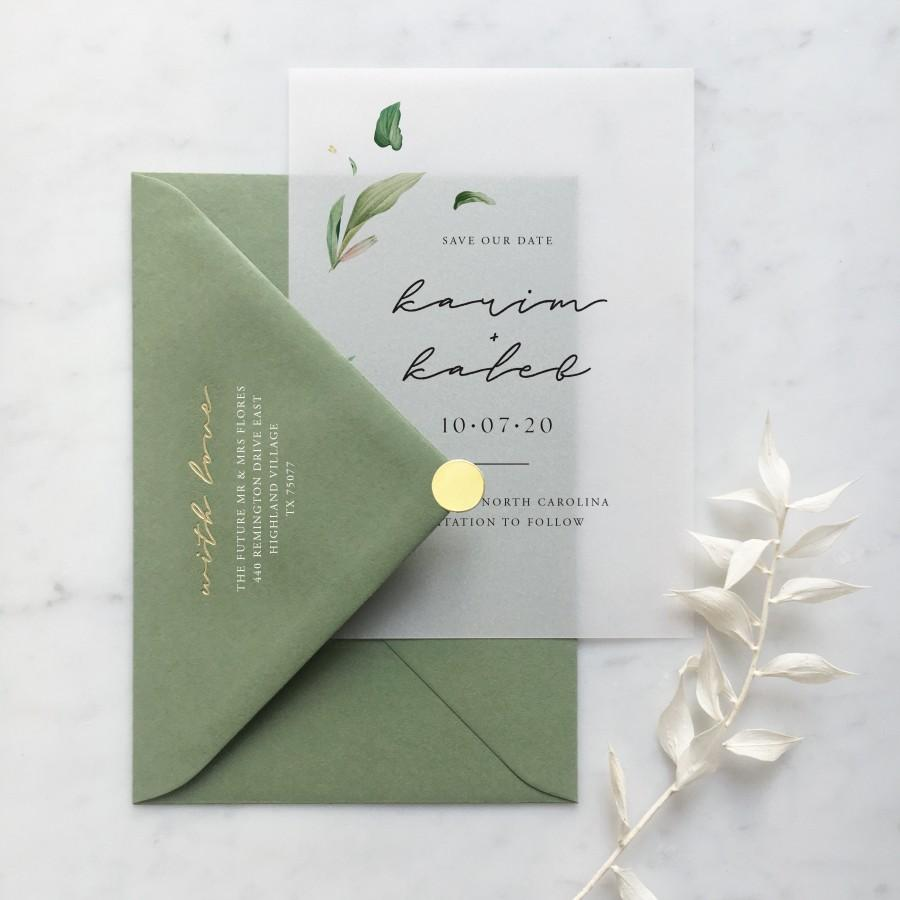زفاف - Vellum Botanical Script Save the Date with Choice of Envelope & Gold Sticker - SEE DETAILS BELOW...