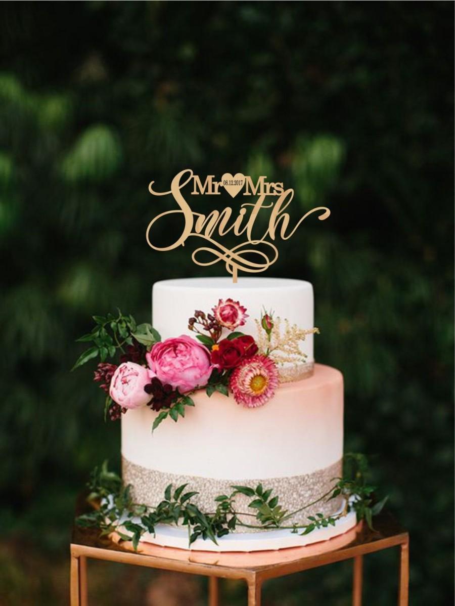 زفاف - Custom mr & mrs cake topper, Personalized last name wedding cake topper, Date wedding date cake topper, Surname cake topper, Modern topper