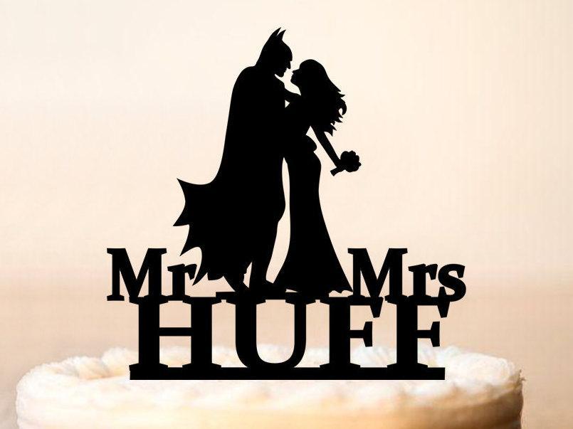 Wedding - Wedding Batman Cake Topper,Batman Cake Topper,Batman Centerpiece,Batman And Catwoman Cake Topper,Silhouette Batman,Green Glitter (0120)