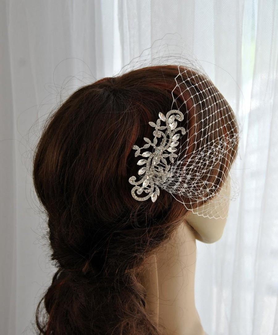 Mariage - Bridal Birdcage Veil with Bridal comb Veil and Bandeau Bridal Comb Wedding Veil Bridal Veil Russian Veil Bird Cage Veil Rhinestone Hair Comb