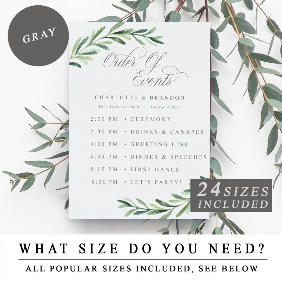 Hochzeit - Greenery Order of Events Sign, Wedding Order of the Day Signs, Printable Wedding Timeline Template, Wedding Schedule Card - INSTANT DOWNLOAD