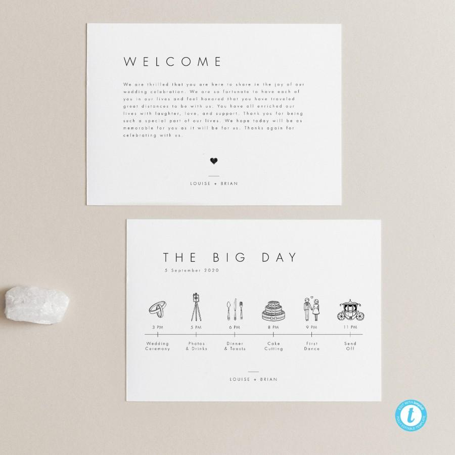 Hochzeit - Minimalist Wedding Timeline Template Wedding day Itinerary Welcome Bag Note Wedding schedule Printable Order of Events Wedding Icon 21