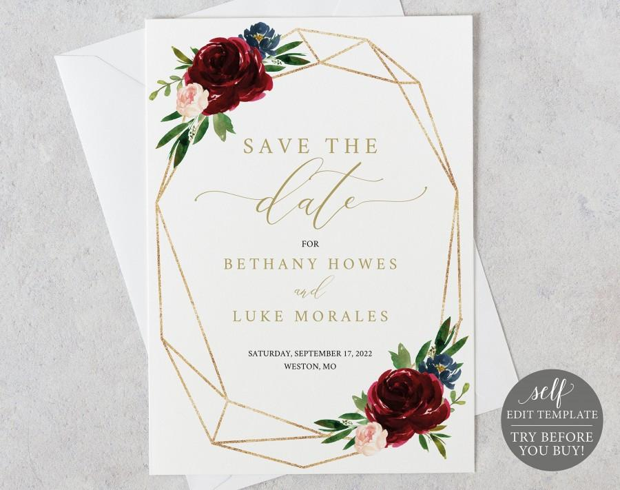 Hochzeit - Save the Date Template, Burgundy Geometric, Demo Available, Printable Editable Instant Download