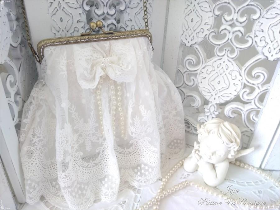 Wedding - Sac à main en dentelle blanche haute couture, mariage blanc
